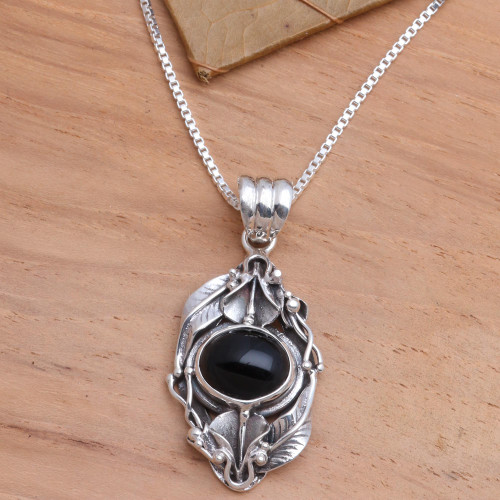 Floral Sterling Silver and Onyx Necklace 'Nest of Lilies'