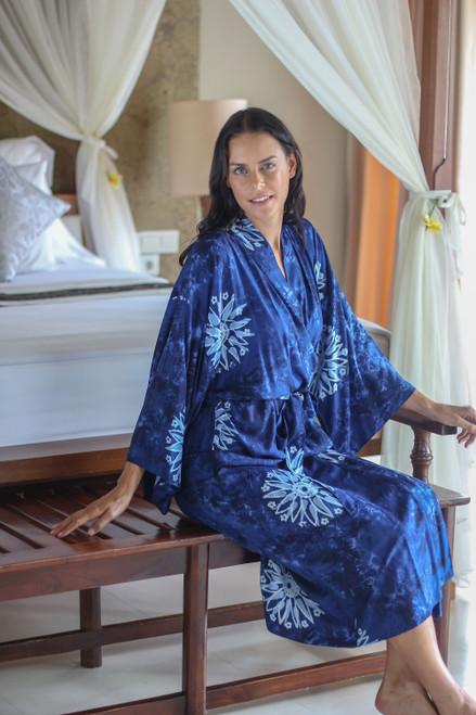 Women's Blue Batik Robe  'Midnight Starlight'