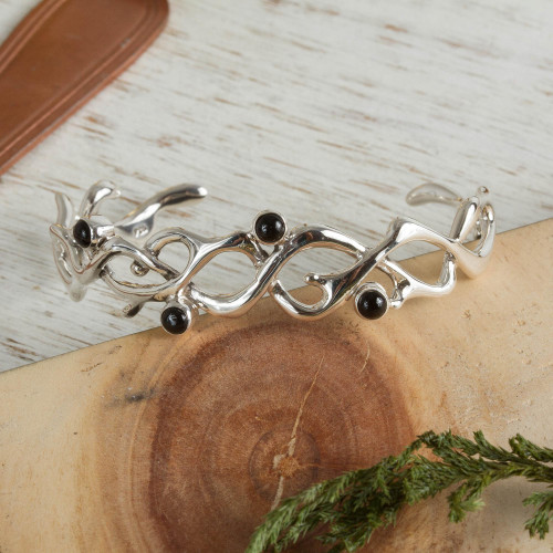Hand Made Taxco Silver Onyx Bracelet 'Hope'