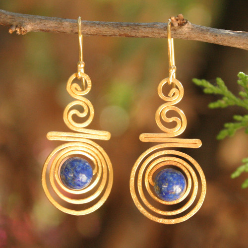 Hand Crafted Lapis Lazuli and 24k Gold Plated Brass Earrings 'Follow the Dream'