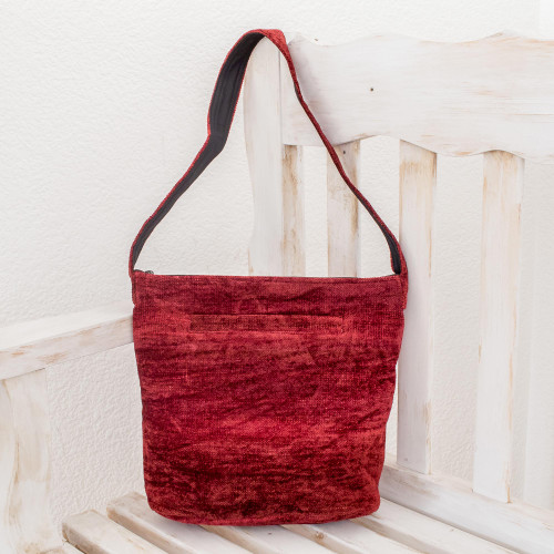 Handcrafted Bamboo Chenille Shoulder Bag 'Love'