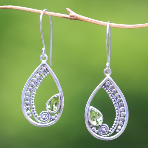 Sterling Silver Peridot Dangle Earrings 'Paisley Swirl'