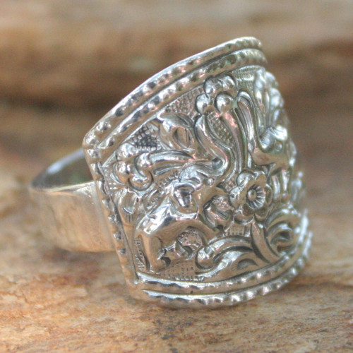 Sterling Silver Cocktail Ring 'Spring Elephants'