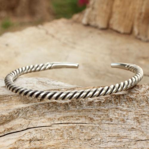 Men's Artisan Crafted Sterling Silver Cuff Bracelet 'Thai Swirl'