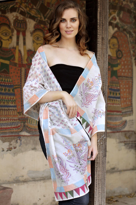 Handcrafted Floral Cotton Silk Patterned Multicolor Shawl 'Tulip Paradise'