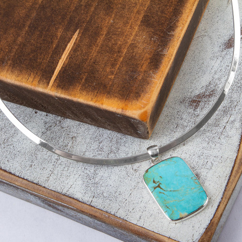 Handmade Taxco Silver Natural Turquoise Necklace 'Caribbean Mosaic'