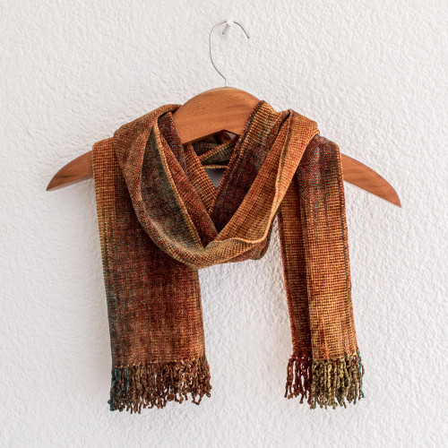 Artisan Crafted Rayon Chenille Scarf from Central America 'Autumn Breeze'