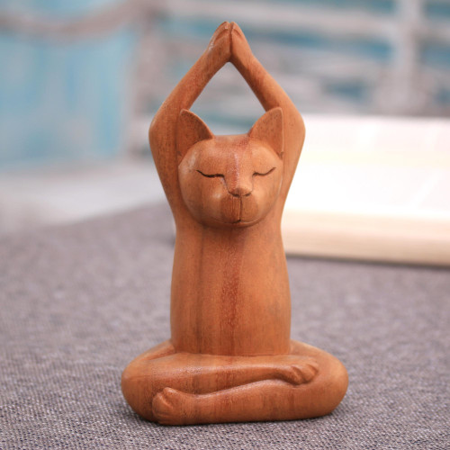 Hand Crafted Wood Sculpture from Indonesia 'Toward the Sky Brown Yoga Cat'