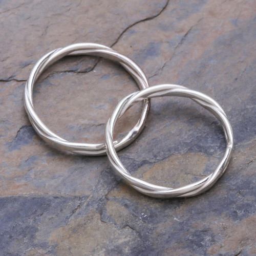 Sterling Silver Stacking Rings Pair 'Relaxing Touch'