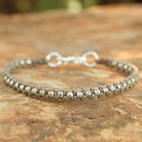 Hand Made Thai Silver Braided Bracelet 'Hill Tribe Heir in Khaki'
