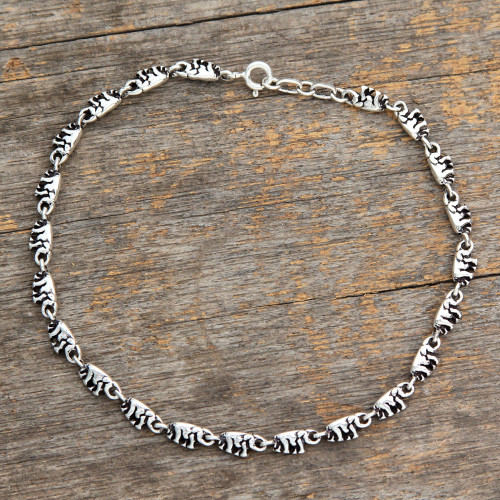 Sterling Silver Link Elephant Anklet Indian Jewelry 'Elephant Parade'