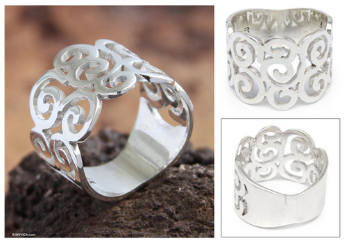 Modern Sterling Silver Band Ring 'Pacific Peru'