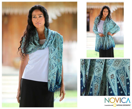 Silk batik shawl 'Javanese Kingdom'