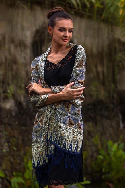 Handmade Silk Batik Shawl 'Forest Foliage'