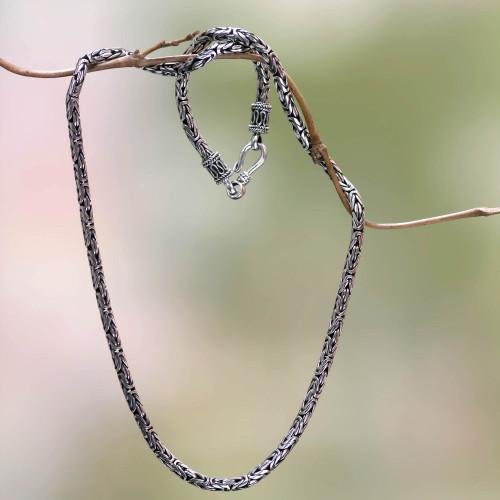 Unique Sterling Silver Chain Necklace 16 Inch 'Borobudur Collection'