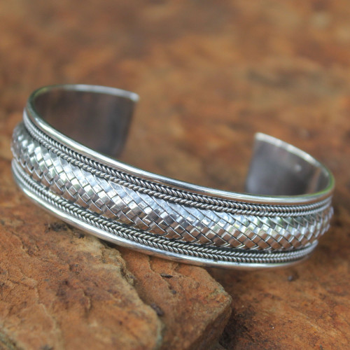 Artisan Crafted Sterling Silver Cuff Bracelet 'Chiang Mai Glamour'