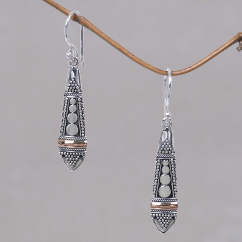 Handmade Sterling Silver and Gold Accent Dangle Earrings 'Balinese Sisters'
