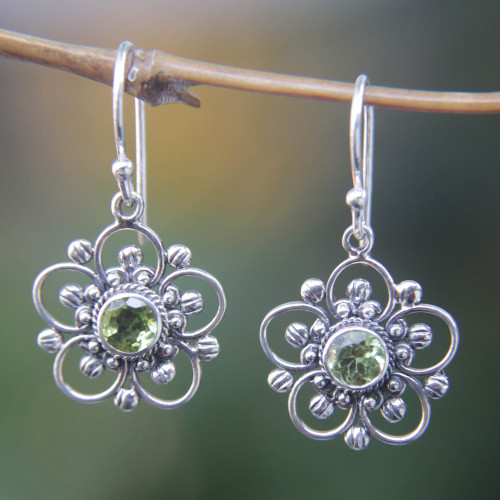 Handcrafted Floral Peridot Dangle Earrings 'Nature's Gift'