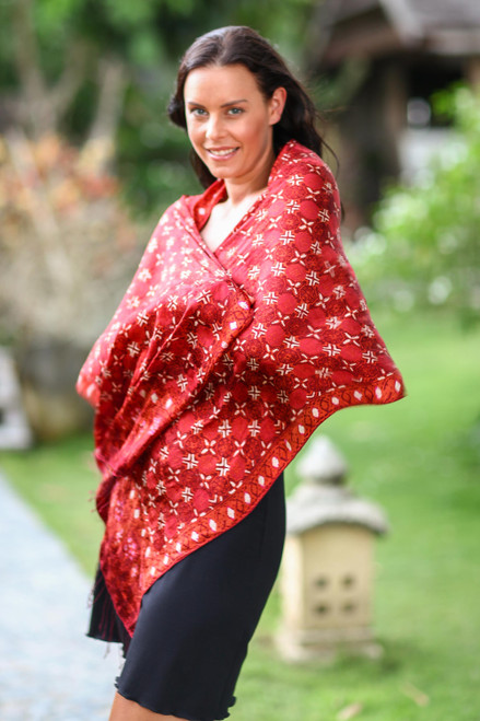 Red Silk Batik Shawl Wrap 'Java Crimson Court'