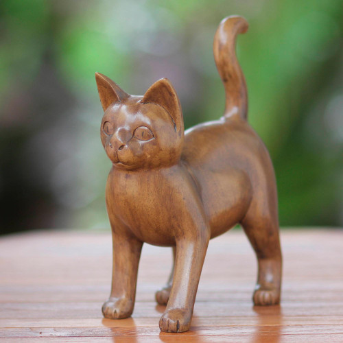 Wood Sculpture from Indonesia 'Guardian Cat'