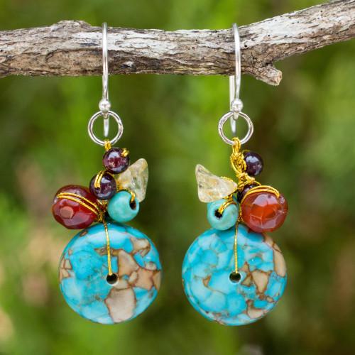 Carnelian and Garnet Beaded Dangle Earrings 'Green Earth'