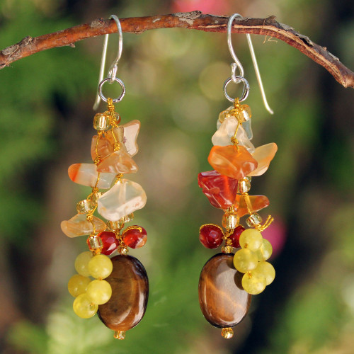 Hand Crafted Tiger's Eye and Quartz Cluster Earrings 'Thai Autumn'