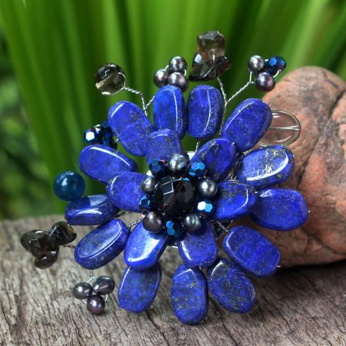 Handmade Floral Lapis Lazuli Brooch Pin 'Phuket Flowers'