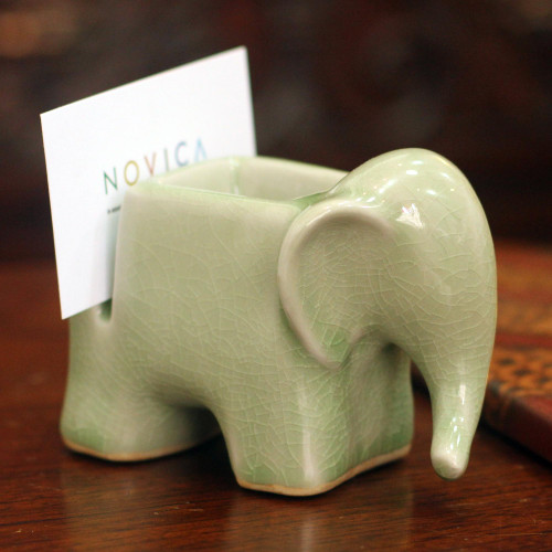 Celadon Ceramic Card Holder 'Green Elephant'