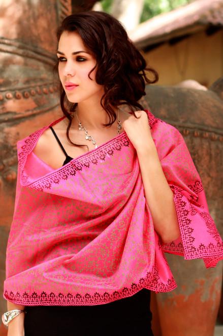 Women's Floral Cotton Silk Blend Patterned Shawl 'Festive Durga Puja'