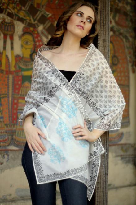 Cotton and silk shawl 'Myriad Bouquets'