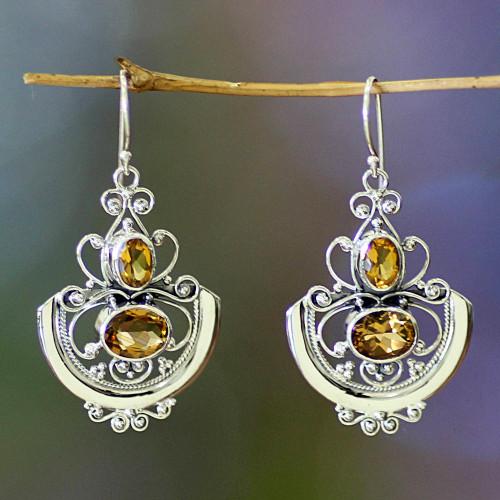 Fair Trade Sterling Silver and Citrine Dangle Earrings 'Balinese Goddess'