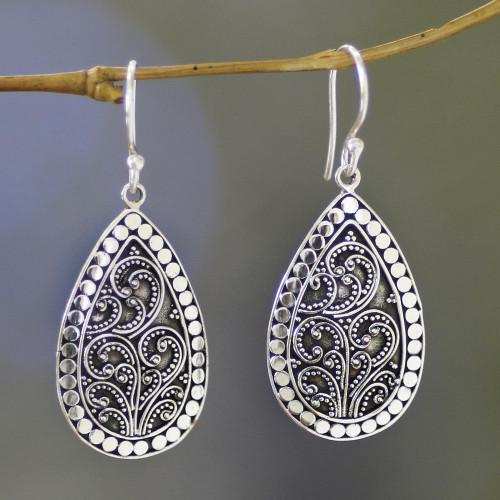 Balinese Style Sterling Silver Dangle Earrings 'Balinese Fern'