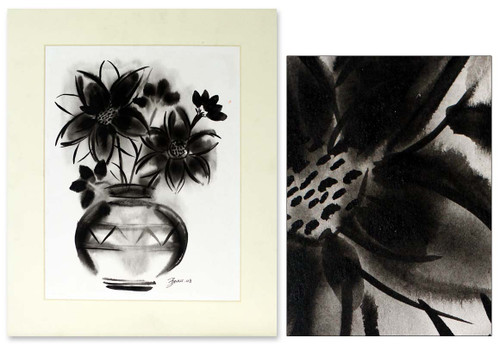 Black and White Painting from India 'Midnight Blossom'