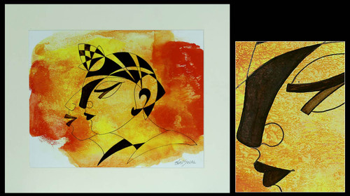 Expressionist Acrylic Painting 'Faces'