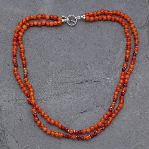 Carnelian strand necklace 'Mumbai Sun'