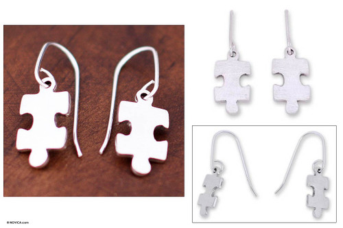 Handcrafted Modern Fine Silver Dangle Earrings 'Puzzle'