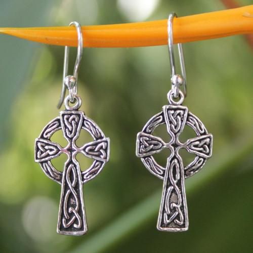 Sterling Silver Religious Dangle Earrings 'Celtic Cross'