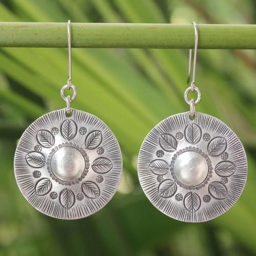 Floral Sterling Silver Dangle Earrings 'Summer Leaves'