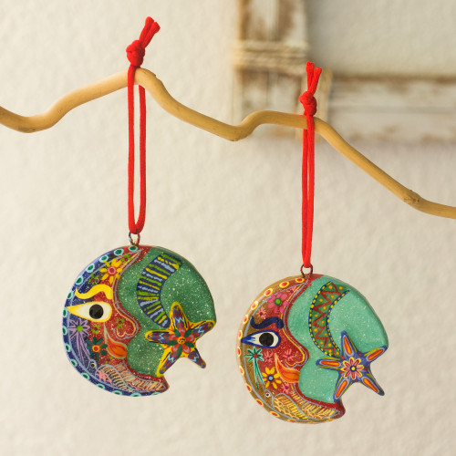 Ceramic ornaments Set of 6 'Festive Night'