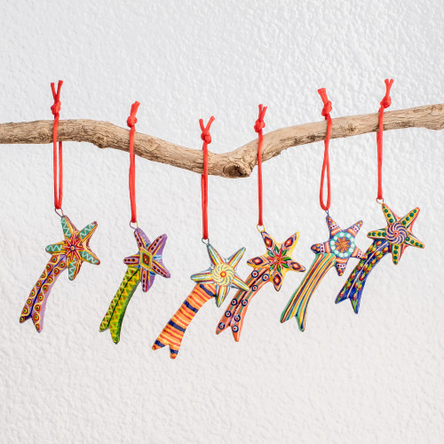 Ceramic ornaments Set of 6 'Shooting Stars'