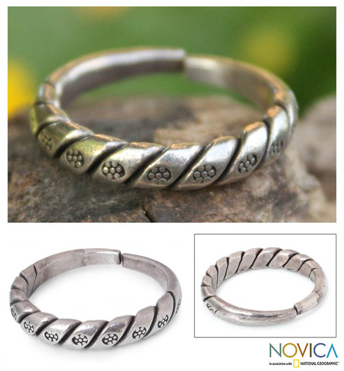 Handcrafted Floral Sterling Silver Band Ring from Thailand 'Hill Tribe Jasmine'