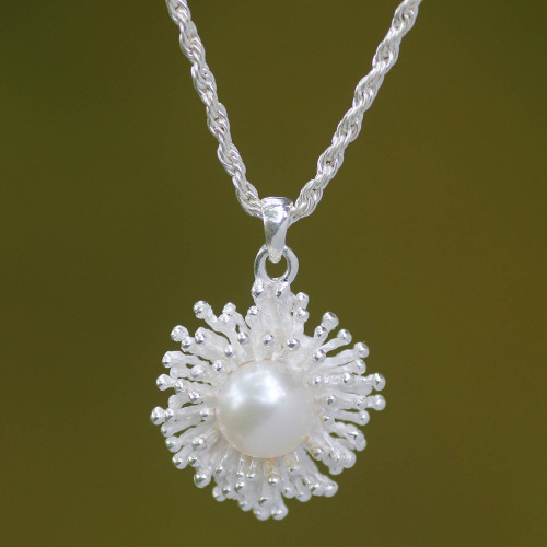 Fair Trade Sterling Silver and Pearl Pendant Necklace 'Pemuteran Treasure'