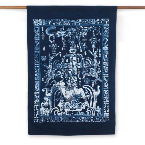 Cotton batik wall hanging 'King Pakal'