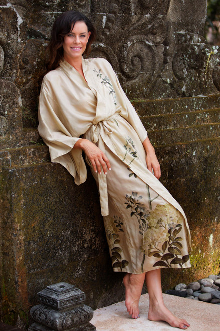 Artist Hand Painted Ivory and Blue Long Silk Robe 'Azure Blossoms'