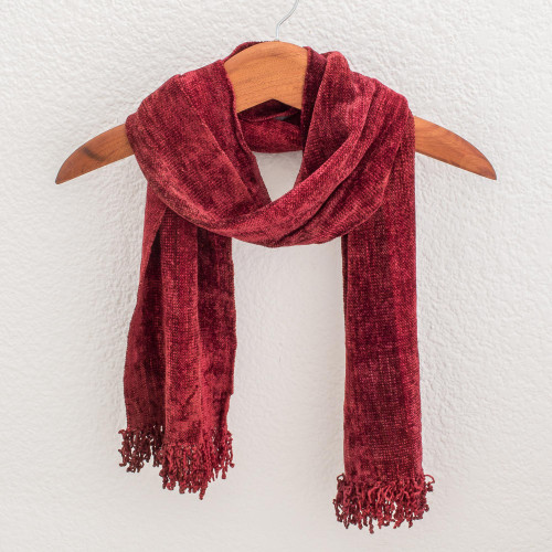 Rayon and Cotton Blend Scarf 'Scarlet Dreamer'
