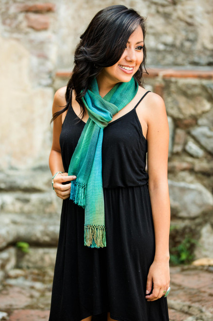 Handcrafted Rayon Chenille Scarf 'Solola Valley'
