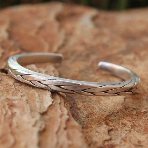 Men's Handcrafted Sterling Silver Cuff Bracelet 'Hill Tribe Braid'
