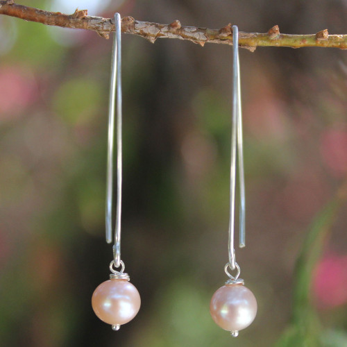 Hand Made Pearl and Sterling Silver Dangle Earrings 'Precious Pink'