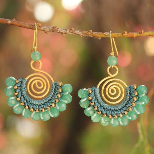 Beaded Dangle Earrings with Quartz 'Kiwi Kiss'