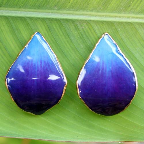 Natural Flower Button Earrings 'Chiang Mai Sky'